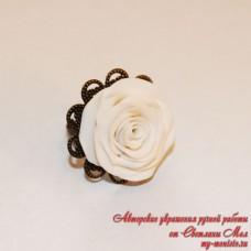 """Кольцо """"Белая роза 1"""""""